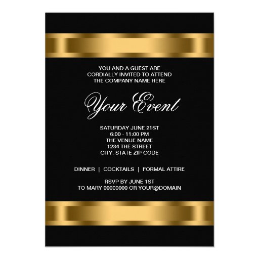 Black Gold Black Tie Corporate Party Announcements