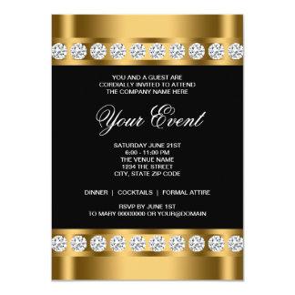 Black Gold Black Tie Corporate Party Template 11 Cm X 16 Cm Invitation Card