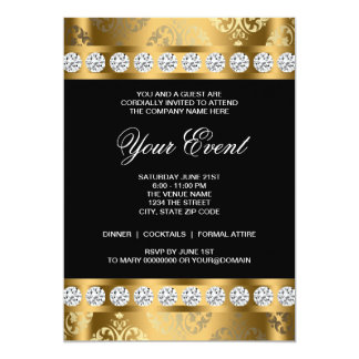Black Gold Black Tie Corporate Party Template 13 Cm X 18 Cm Invitation Card