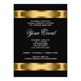 Black Gold Black Tie Corporate Party Template 14 Cm X 19 Cm Invitation Card