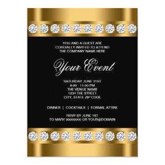 Black Gold Black Tie Corporate Party Template 17 Cm X 22 Cm Invitation Card