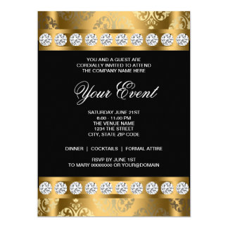 "Black Gold Black Tie Corporate Party Template 6.5"" X 8.75"" Invitation Card"