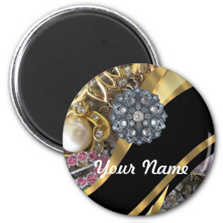 Black & gold bling 6 cm round magnet