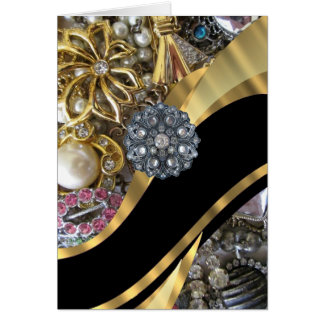 Black gold bling greeting cards