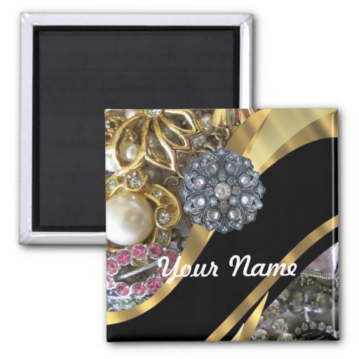 Black & gold bling magnet