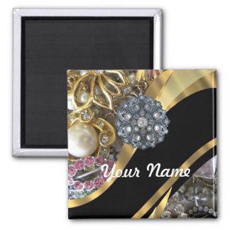 Black & gold bling square magnet