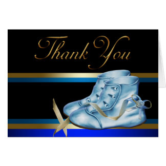 Black Gold Blue Baby Booties Thank You Cards Note Card