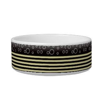 Black Gold  Bobles & Stripes Medium Pet Bowl