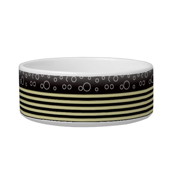 Black Gold  Bobles & Stripes Medium Pet Bowl