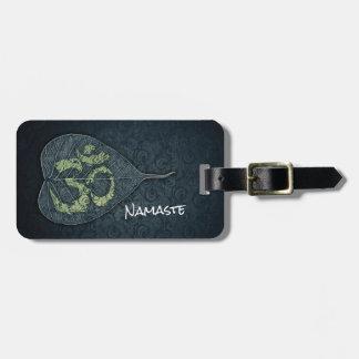 Black & Gold Bodhi Leaf OM Symbol YOGA Instructor Luggage Tag
