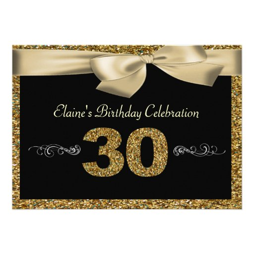 Black Gold Bow 50th Woman's Birthday Invitation Custom Invitation