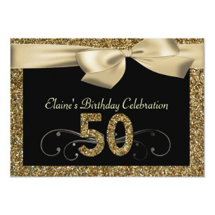 Black Gold Bow 50th Womans Birthday Invitation