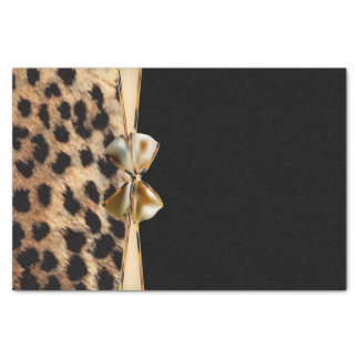 Black & Gold Bow Leopard Cheetah Animal Print Tissue Paper