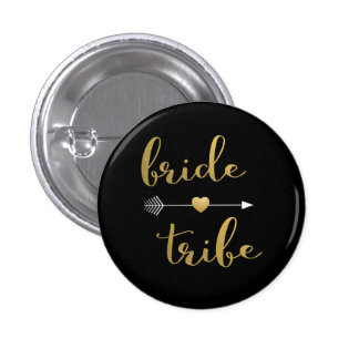 Black & Gold Bride Tribe Bridesmaid Button