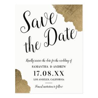Black gold brush typography wedding save the date postcard