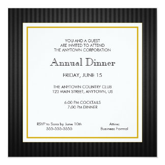 Black & Gold Business Professional Dinner Card