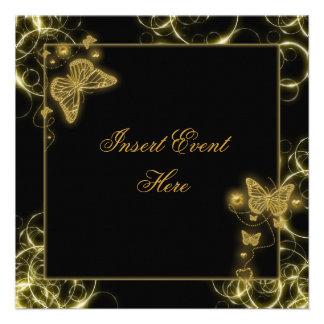 Black gold butterfly swirls elegant personalized invitations