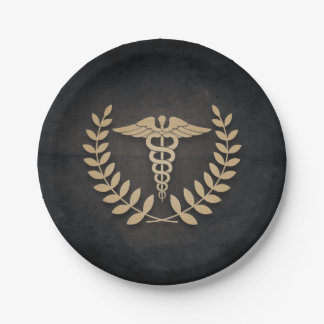 Black+Gold Caduceus Medical Symbol Doctor/Nurse Paper Plate