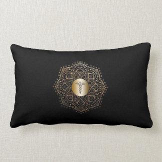 Black Gold Caduceus Medical Symbol Nurse Lumbar Cushion