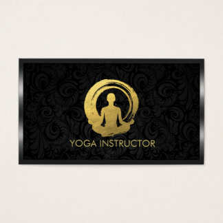 Black Gold Calligraphy Yoga Meditation ZEN Symbol Business Card