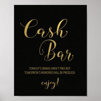 Black & Gold Cash Bar Sign Poster