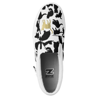 Black Gold Cats Slip On Shoes