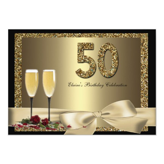 Black Gold Champagne 50th Woman's Birthday Invite