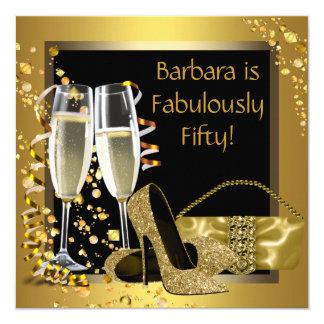 Black Gold Champagne Birthday Party 13 Cm X 13 Cm Square Invitation Card