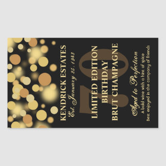 Black Gold Champagne Bubbles Birthday Label 750ml