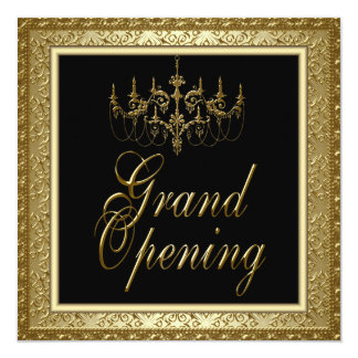 Black Gold Chandelier Business Grand Opening 5.25x5.25 Square Paper Invitation Card