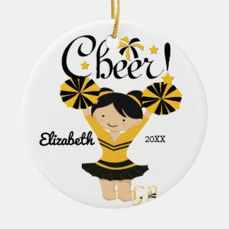 Black & Gold Cheer Black Hair Cheerleader Ornament