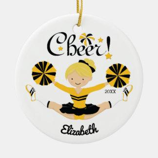 Black & Gold Cheer Blonde Cheerleader Ornament