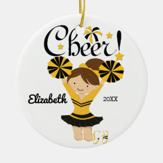 Black & Gold Cheer Brunette Cheerleader Ornament