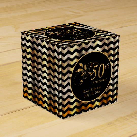 Black & Gold Chevron 50th Wedding Anniversary Favour