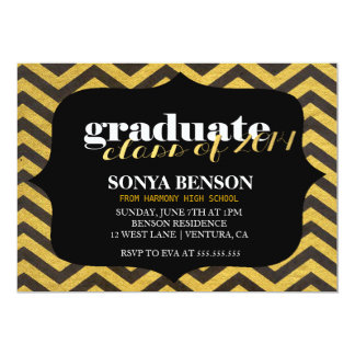 Black & Gold Chevron Class of 2014 Graduation 13 Cm X 18 Cm Invitation Card