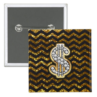 Black & Gold Chevron Diamond & Gold Dollar Sign 15 Cm Square Badge