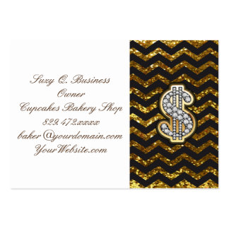Black & Gold Chevron Diamond & Gold Dollar Sign Pack Of Chubby Business Cards