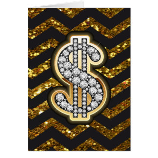 Black & Gold Chevron Diamond & Gold Dollar Sign Greeting Card