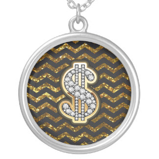 Black & Gold Chevron Diamond & Gold Dollar Sign Silver Plated Necklace