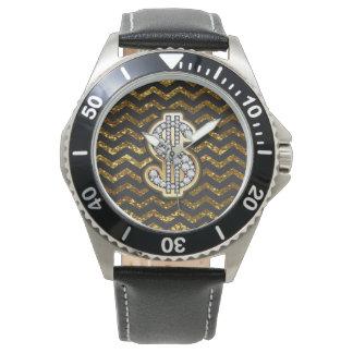 Black & Gold Chevron Diamond & Gold Dollar Sign Wristwatch