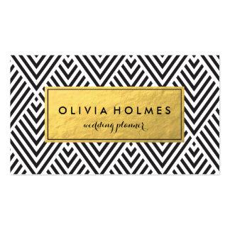 Black & Gold Chevron Pattern Business Card