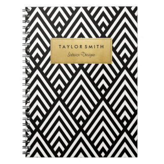 Black & Gold Chevron Pattern Notebook