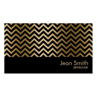 Black & Gold Chevron Stripes Jewelry Pack Of Standard Business Cards