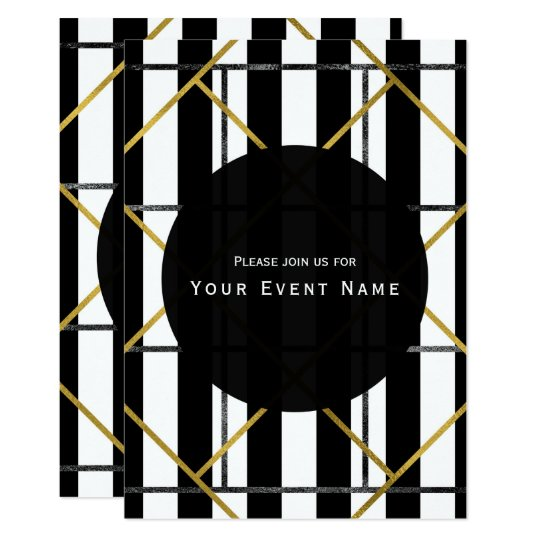 Black & Gold Chic Glam Geometric Party Invitations