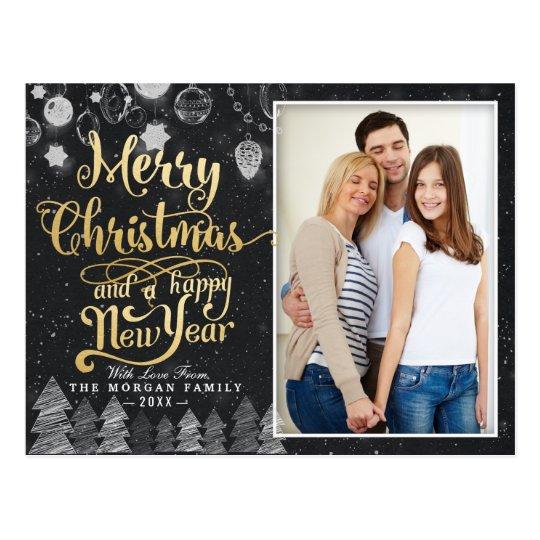 Black Gold Christmas Happy New Year Greeting Photo