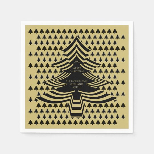Black/Gold Christmas Picture Font Tree Pattern Disposable Napkin
