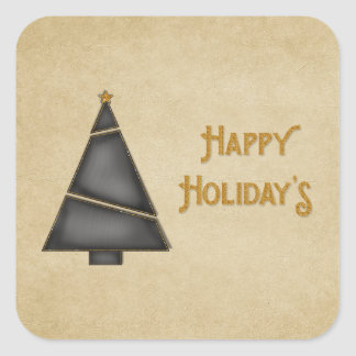 Black Gold Christmas Tree Happy Holidays Square Stickers