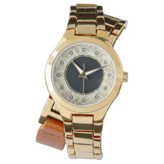 Black & Gold Circle Mandala Diamond Accents Watch