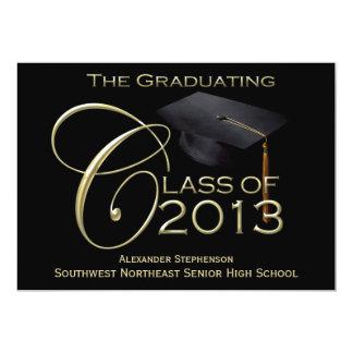 Black/Gold Class of 2013 Graduation Custom Announcements