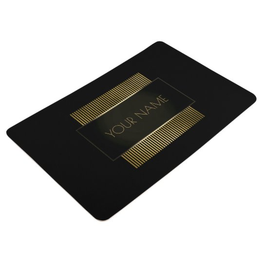 Black Gold Conceptual Minimal Name Geometry Floor Mat
